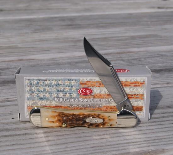 CASE XX AMBER BONE PEACH SEED MINI COPPERLOCK KNIFE NEW IN BOX