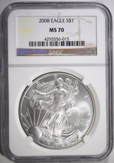 2008 AMERICAN SILVER EAGLE, NGC MS-70