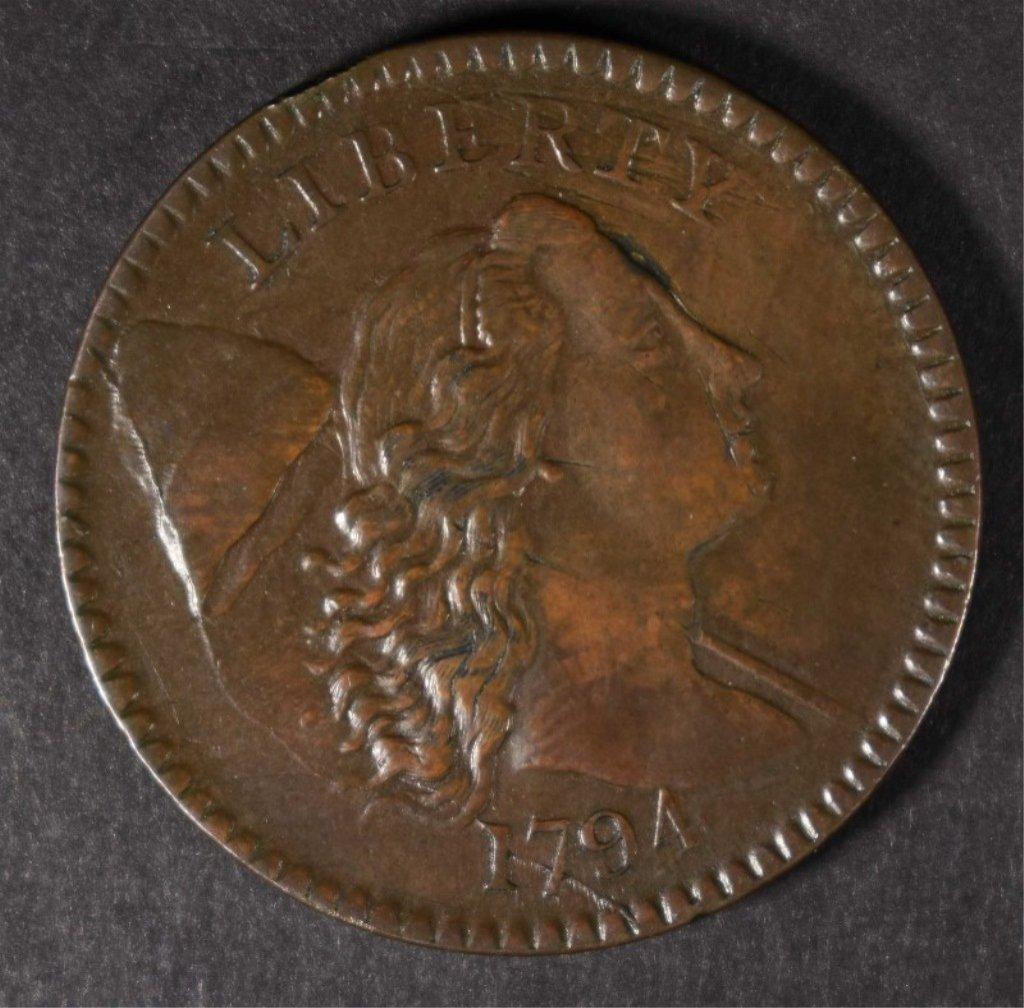 1794 HEAD OF 94 LARGE CENT AU/BU