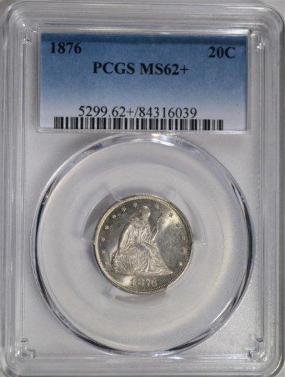 1876 TWENTY CENT PIECE PCGS MS62+