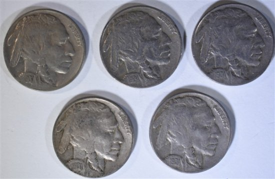 5 - 1931-S BUFFALO NICKELS 1-XF, 1-AU