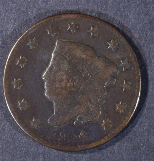 1824/2 LARGE CENT N-1 VG