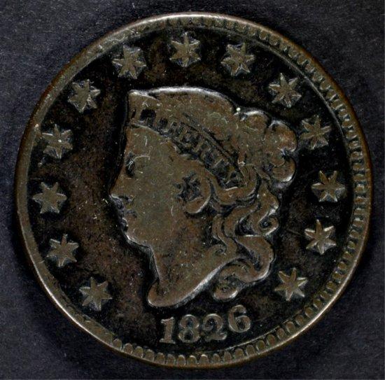 1826 LARGE CENT N-5 VF/FINE