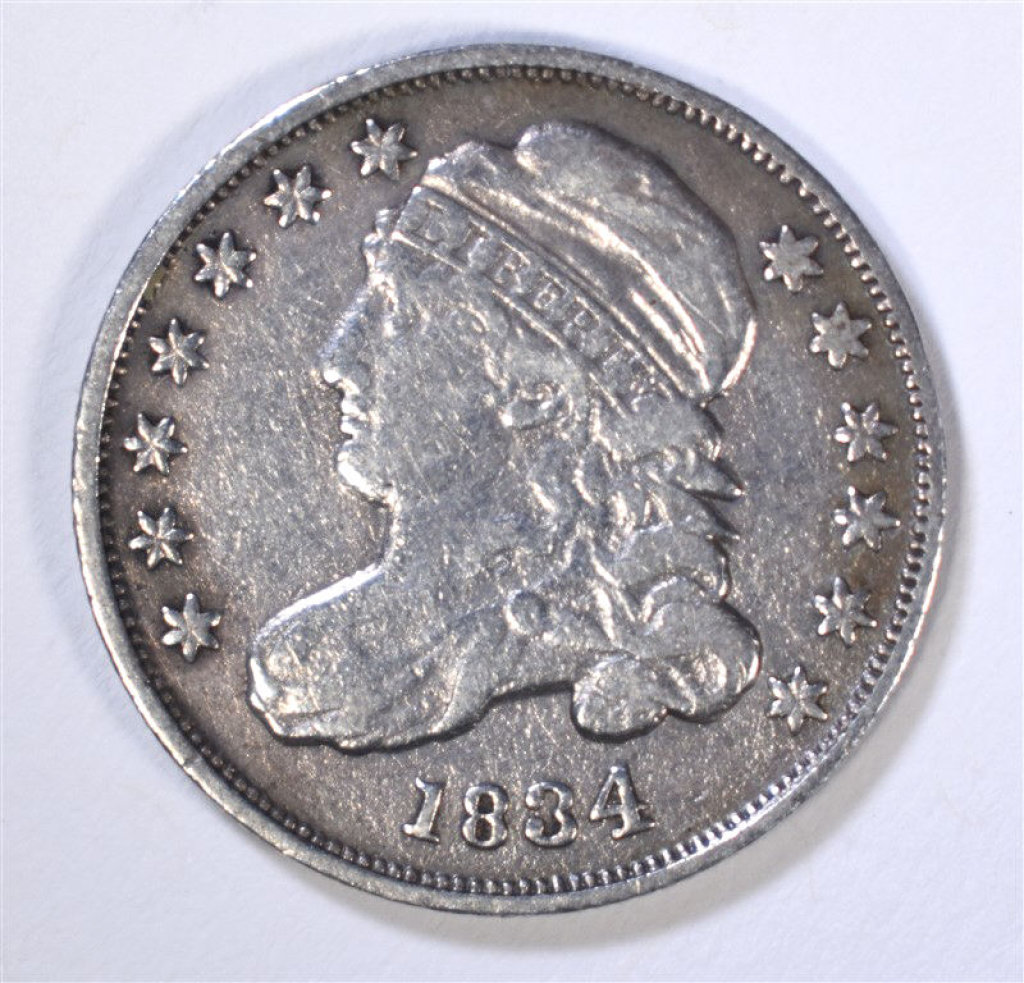1834 CAPPED BUST DIME, VF+