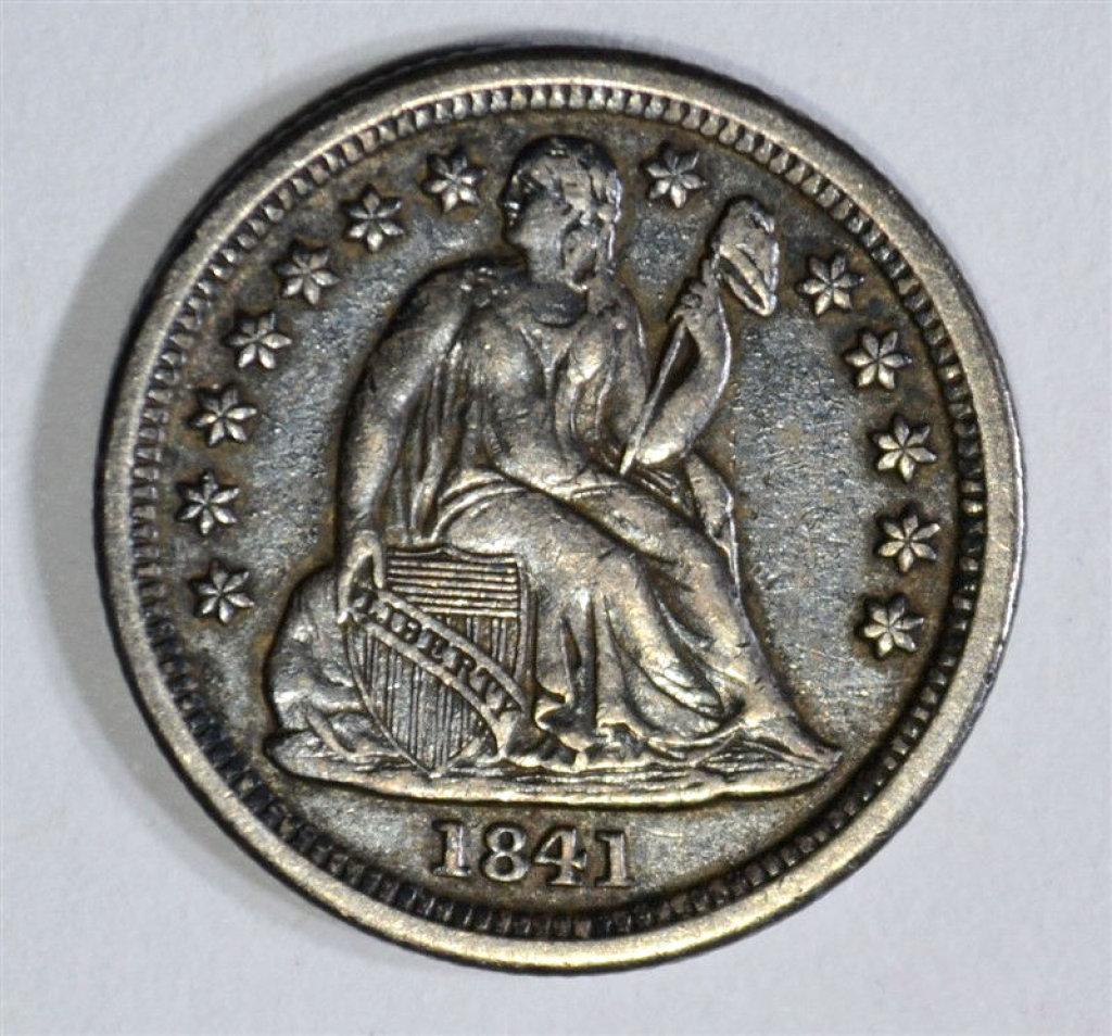 1841-O SEATED DIME, XF++/AU