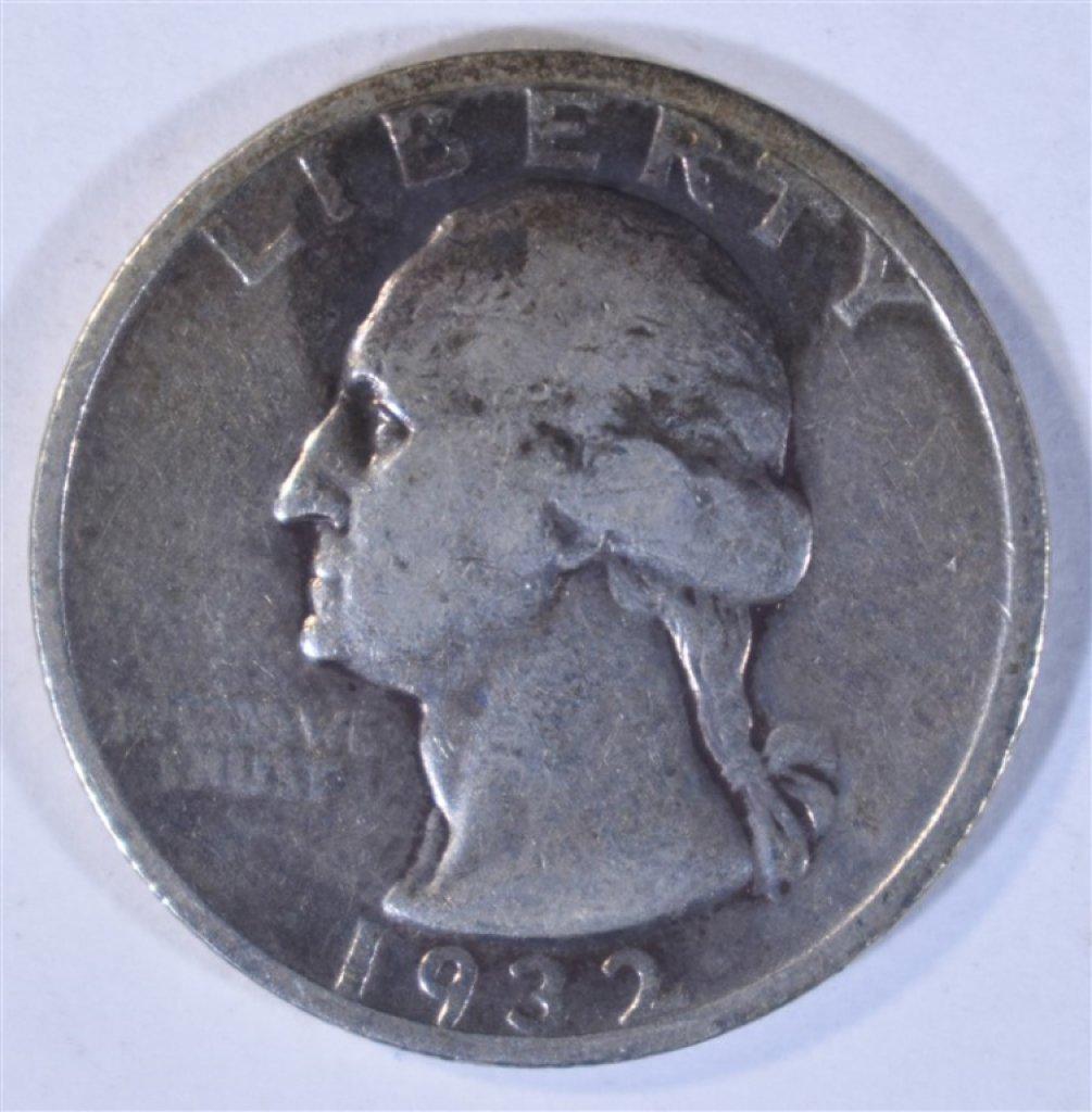 1932-S WASHINGTON QUARTER, FINE KEY DATE