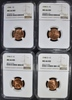 4 LINCOLN CENTS NGC MS-66 RD