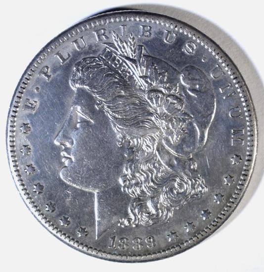 1889-CC MORGAN DOLLAR, AU/BU
