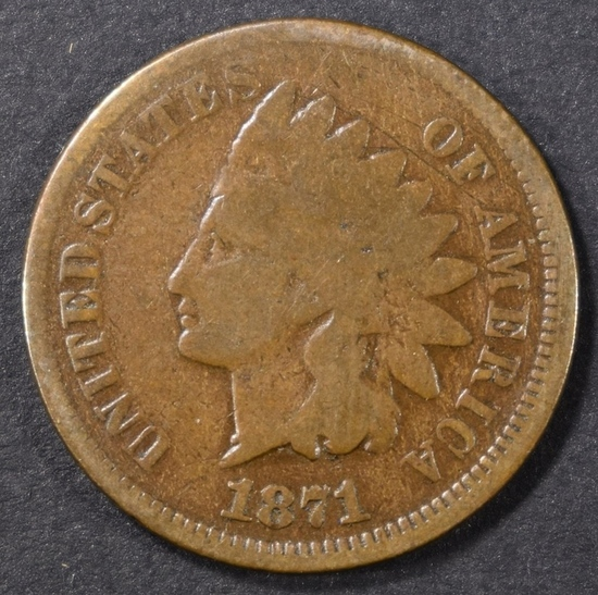 1871 INDIAN CENT GOOD, KEY DATE | Coins & Currency Coins