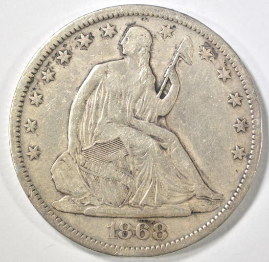 1868-S SEATED HALF DOLLAR VF