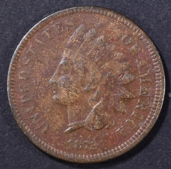 1872 INDIAN CENT VF POROUS, KEY DATE
