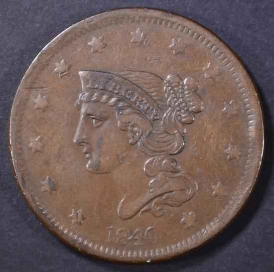 1840 LARGE CENT XF RIM BUMP