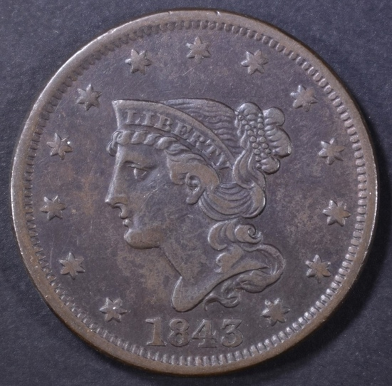 1843 LARGE CENT XF