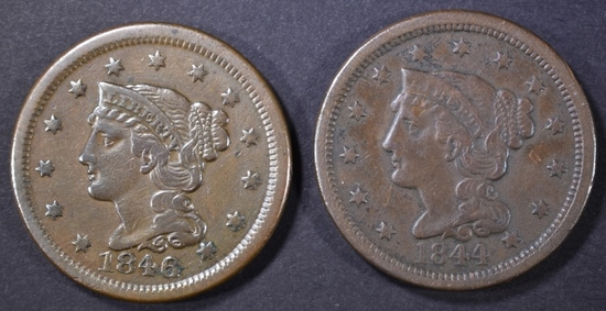 1844 VF & 1846 XF LARGE CENTS