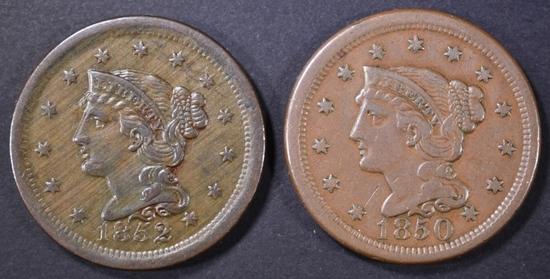1850 VF & 52 XF LARGE CENTS