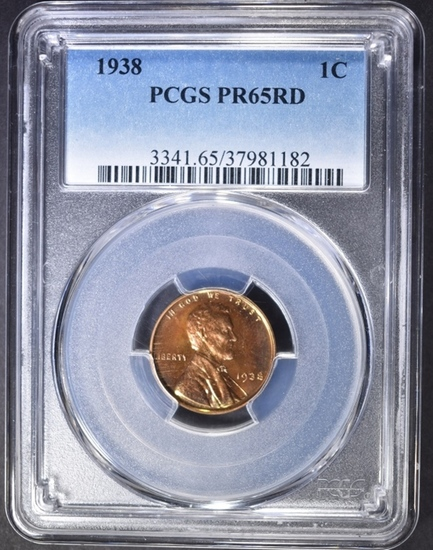 1938 LINCOLN CENT  PCGS  PR-65 RD