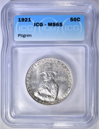 1921 PILGRIM COMMEM HALF DOLLAR  ICG MS-65
