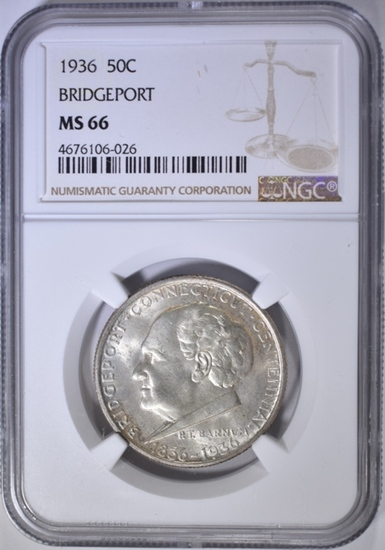 1936 BRIDGEPORT COMMEM HALF DOLLAR  NGC MS-66