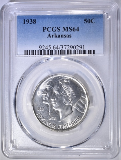 1938 ARKANSAS COMMEM HALF DOLLAR  PCGS MS-64