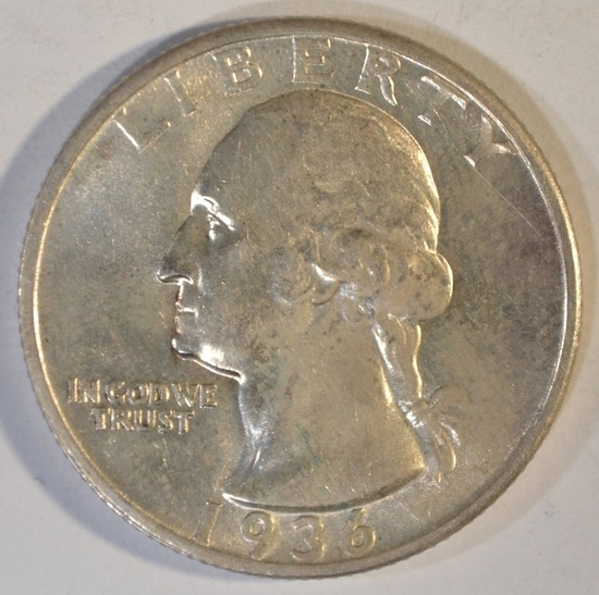 1936-S WASHINGTON QUARTER  GEM BU