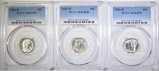 3 1941-D MERCURY DIME ALL PCGS GRADED
