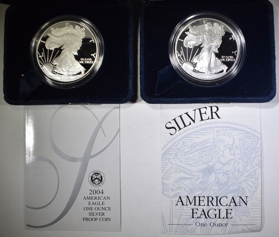 2003-W & 2004-W PROOF AMERICAN SILVER EAGLES OGP