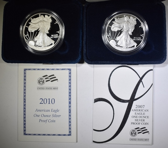 2007-W & 2010-W PROOF AMERICAN SILVER EAGLES  OGP