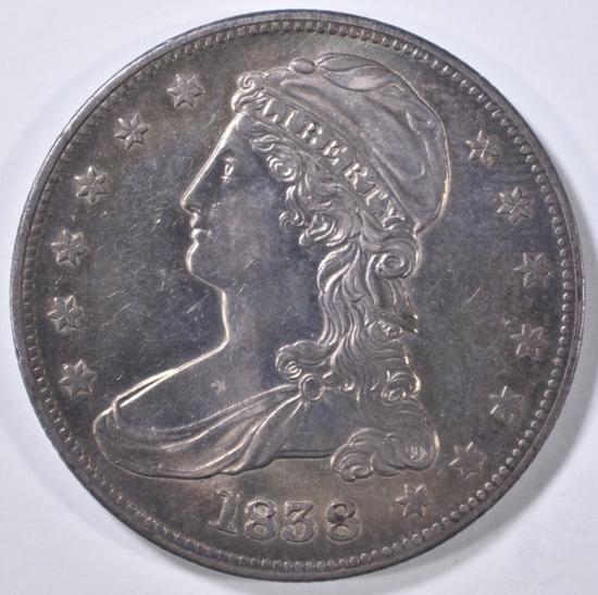 1838 BUST HALF DOLLAR AU/BU
