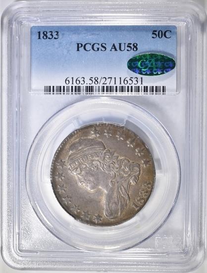 1833 BUST HALF DOLLAR PCGS AU-58 CAC