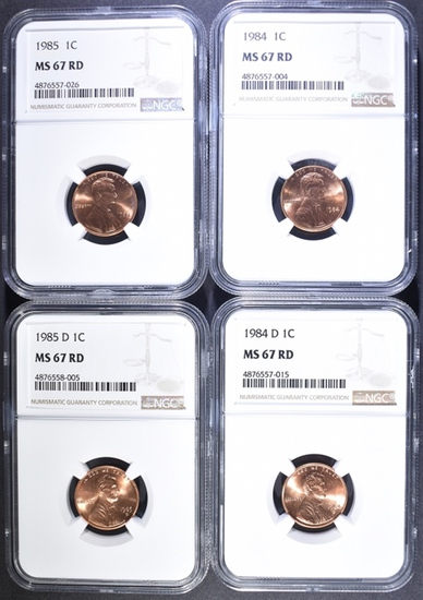 1984-P&D AND 1985 P&D LINCOLN CENTS, NGC MS-67 RED