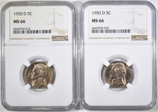 2-1950-D JEFFERSON NICKELS, NGC MS-66