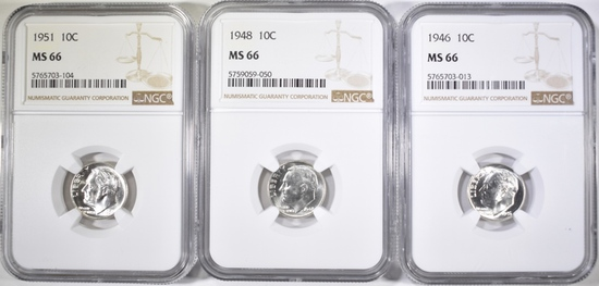 1946,48 & 51 ROOSEVELT DIMES, NGC MS-66