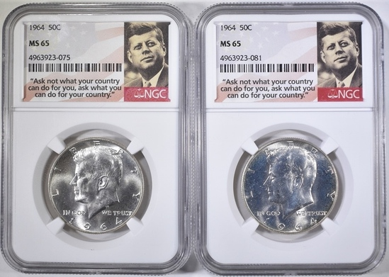 2- 1964 KENNEDY HALVES, NGC MS-65