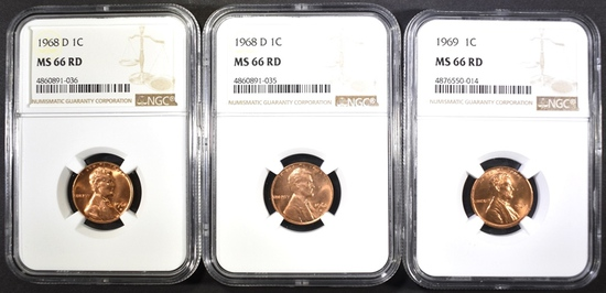 (2) 1968-D & (1) 1969 LINCOLN CENTS, NGC MS-66 RED