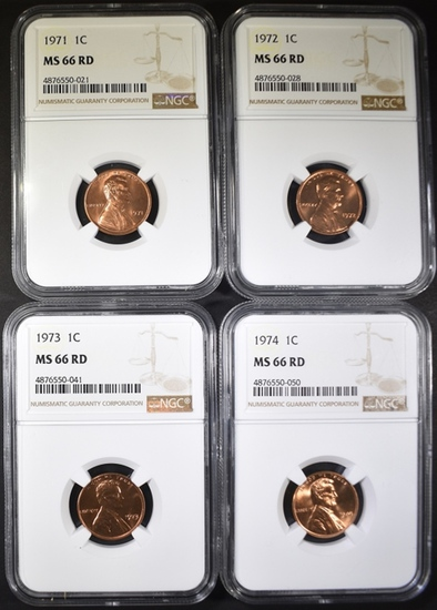 1971, 72, 73 & 74 LINCOLN CENTS, NGC MS-66 RED