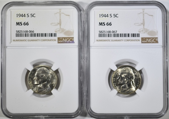 2-1944-S SILVER JEFFERSON NICKEL, NGC MS-66