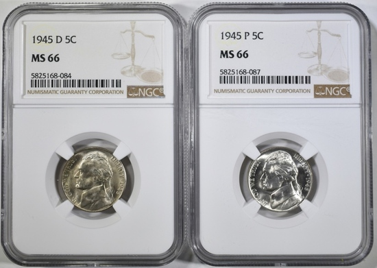 1945-P&D JEFFERSON NICKELS, NGC MS-66