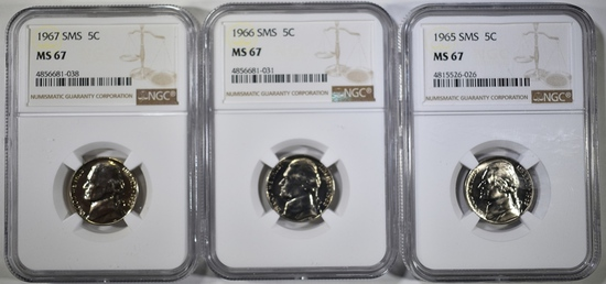 1965, 66 & 67 SMS JEFFERSON NICKELS, NGC MS-67