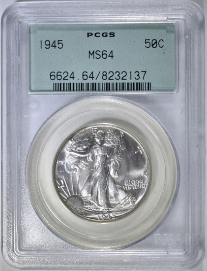 1945 WALKING LIBERTY HALF DOLLAR, PCGS MS-64 OGH