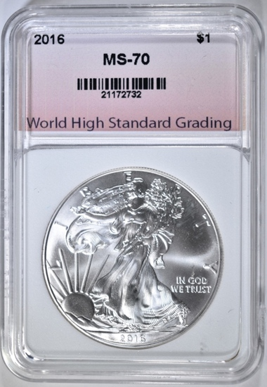 2016 AMERICAN SILVER EAGLE, WHSG PERFECT GEM BU