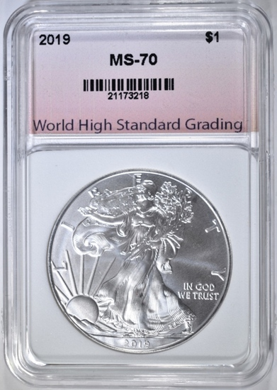 2019 AMERICAN SILVER EAGLE, WHSG PERFECT GEM BU