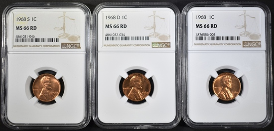 1968-P-D&S LINCOLN CENTS, NGC MS-66 RED