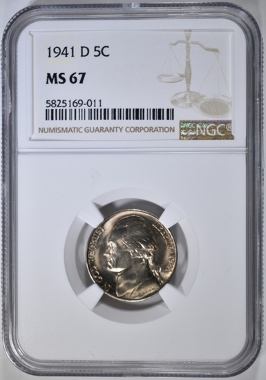 1941-D JEFFERSON NICKEL, NGC MS-67