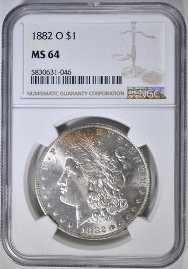 1882-O MORGAN DOLLAR, NGC MS-64