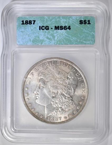 1887 MORGAN DOLLAR, ICG MS-64