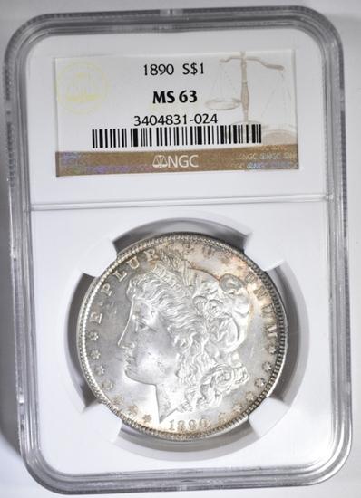1890 MORGAN DOLLAR, NGC MS-63