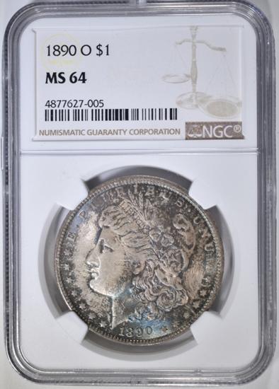 1890-O MORGAN DOLLAR, NGC MS-64 COLOR