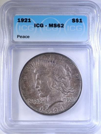 1921 PEACE DOLLAR ICG MS-62