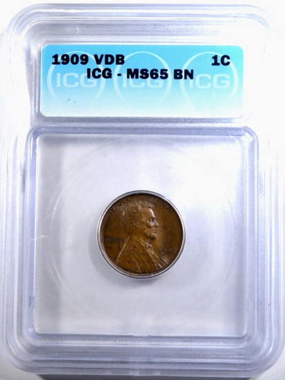 1909 VDB LINCOLN CENT ICG MS-65 BN