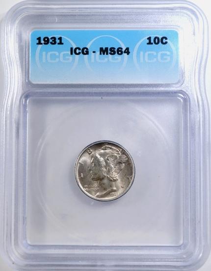 1931 MERCURY DIME ICG MS-64